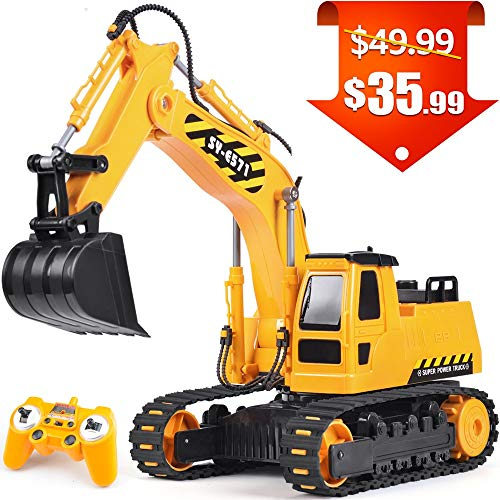 (DOUBLE  E RC Trucks Remote Control Excavator Tractor with Rechargeable Battery 2.4GHz Control Construction Toys)