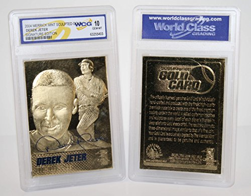 Gold Mint Card - DEREK JETER NY Yankees Genuine Sculptured 24K Gold Card - Graded GEM MINT 10