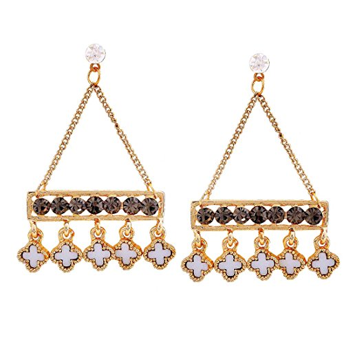 Maayra Party Earrings Alloy Dangler Drop Black White Hanging Jewellery by Maayra