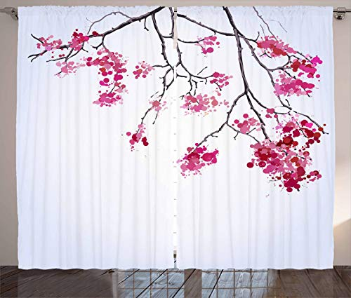 Ambesonne Japanese Curtains, Cherry Blossom Sakura Tree Floral Branch Spring Season Theme Image, Living Room Bedroom Window Drapes 2 Panel Set, 108 W X 63 L Inches, Pink Black and Dimgray