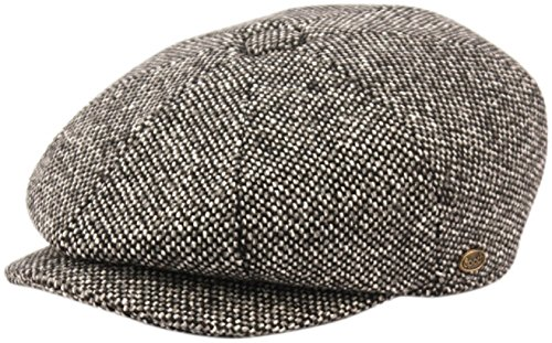 Men's Classic 8 Panel Wool Blend Newsboy Snap Brim Collection Hat (Medium, 2124-Black)