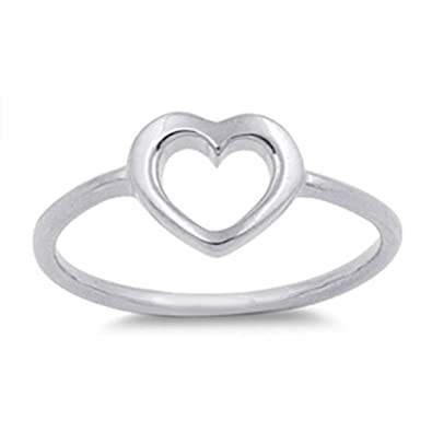 e604109258 Women's Heart Simple Cute Promise Ring New .925 Sterling Silver Band Size 1