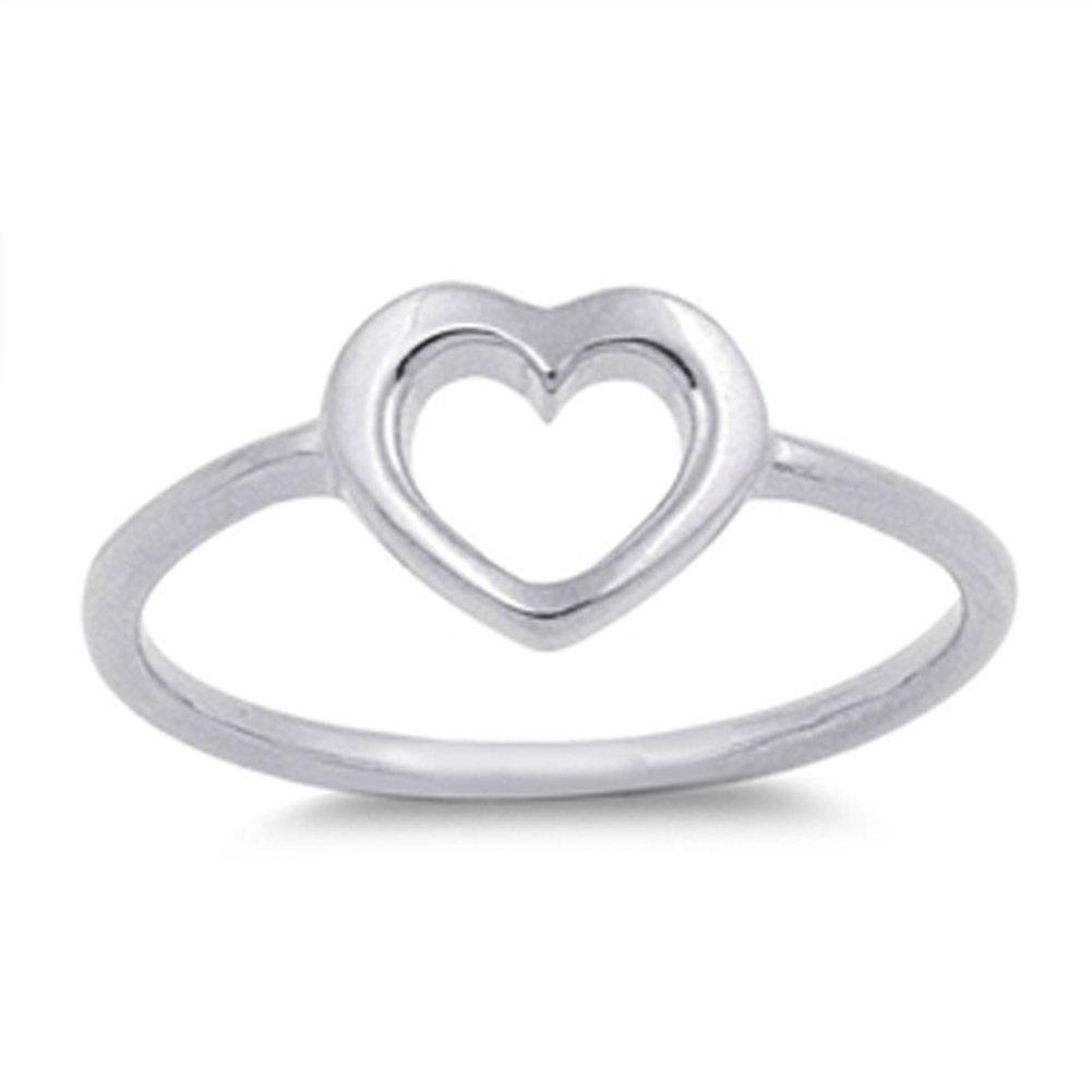Women's Heart Simple Cute Promise Ring New .925 Sterling Silver Band Size 10