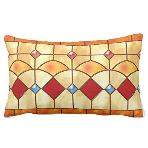 UTF4C Mission Style Tiffany Faux Stained Glass Throw Pillow Case Square 12 x 16 Inches Soft Cotton Canvas, Pillow Cover Decorative for Sofa Couch Hidden ()