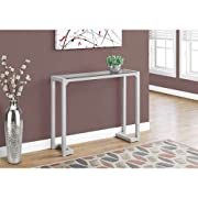 Hawthorne Ave Accent Table - 42L/Silver/Tempered Glass Hall Console