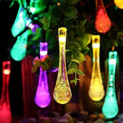 Highpot 10LED 1.5M Colorful Glow Water Drop String Lights Fairy Light for Garden Wedding Xmas Party-Battery-powered Party Wedding Decor Lights (Multicolor)