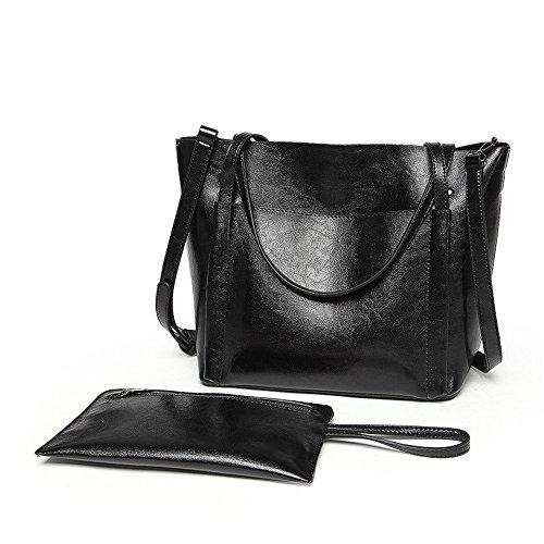 Bolso Elegante Negro Meaeo Xiekua Bolso Moda Retro black Paquete Bolso gv5UFq