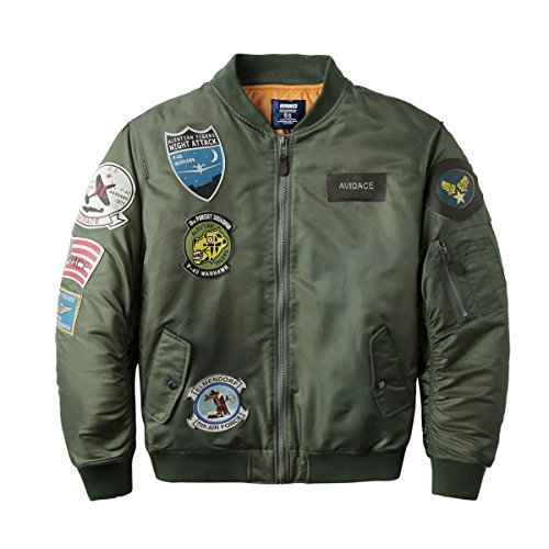 Bomber Jacket for Men with Patches - Blue, Black or Green