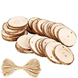 Natural Wood Slices 25Pcs 2.4''-2.8'' Craft Wood kit Unfinished Predrilled with Hole Wooden Circles Great for Arts and Crafts Christmas Ornaments DIY Crafts