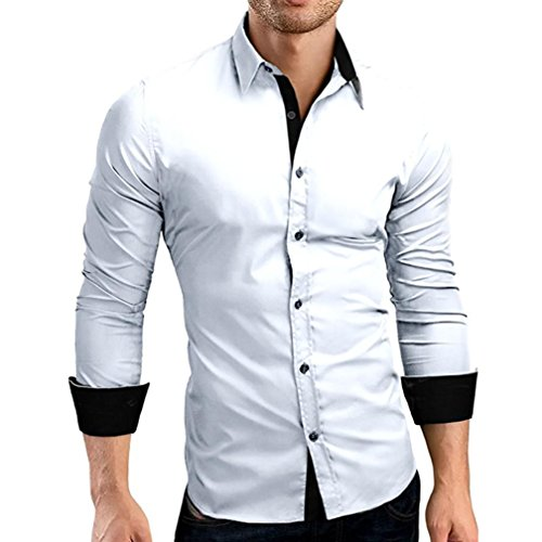 Price comparison product image Men Shirts Clearance Sale vermers Men's Autumn Casual Formal Solid Slim Fit Long Sleeve Dress Top Blouse(L,  White)