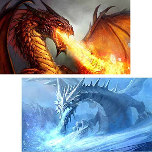 (Yomiie 5D Diamond Painting Fire & Ice Dragon Full Drill by Number Kits for Adults, 30x50 cm Dracarys Paint with Diaond Arts Red & Blue Dragonfire Cross Stitch DIY Craft)