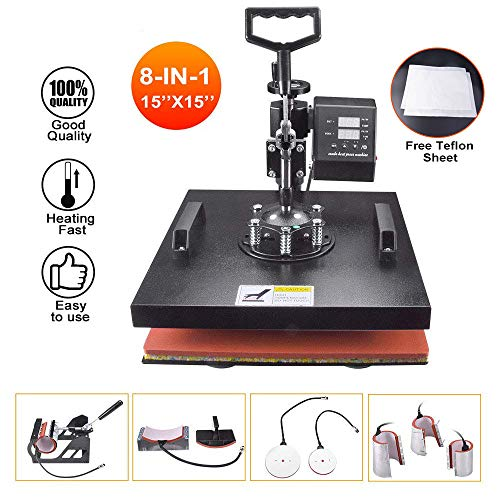 """Power Heat Press Machine 15"""" X 15"""" Professional Swing Away Heat Transfer 8 in 1 Digital Sublimation 360-Degree Rotation Multifunction Combo for T-Shirt Mugs Hat Plate Cap"""