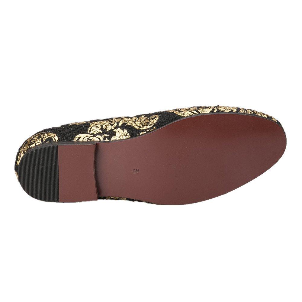 HI&HANN Gold Printing Men's Velvet Loafer Shoes Slip-On Loafer Round Toes Smoking Slipper-12-Black