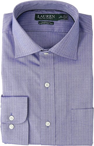 Herringbone Classic Dress - Lauren Ralph Lauren Men's Classic Fit No-Iron Herringbone Dress Shirt Blanc/Bleu 16.5-34/35