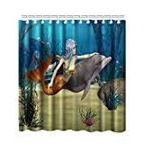 Fish Tales Shower Curtain Bnxbb Mermaid Shower Curtain, Fairy Marine Cute Mermaid Girl Dolphin Fish Swimming Underwater in Blue Ocean Image 12 Hooks Bathroom Accessories (Blue Black Petrol Blue, 35