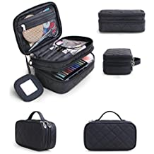 HOYOFO Travel Cosmetic Bags Portable Makeup Brush Bag Beauty Essentials Storage Case with Mirror, Big Size (Black)