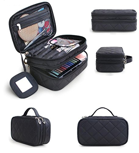 HOYOFO Travel Cosmetic Bags Portable Makeup Brush Bag Beauty Essentials Storage Case with Mirror, Big Size (Black) by HOYOFO