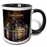 3dRose mug_80574_4 Beautiful Photo Of Singapore At Night Two Tone Black Mug, 11 oz, Black/White