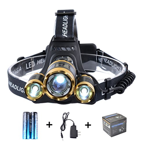 The Revenant Super Bright LED Headlamp Headlight 5000 Lumens 4 Modes 3 CREE XM L T6 Zooomable Waterproof, 18650 Rechargeable Battery & Charger