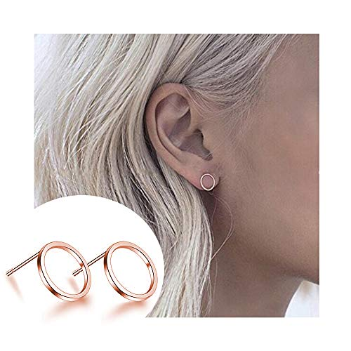CHOA Tiny Circle Stud Earrings - Delicate Hammered Circle Earrings for Women Girls (rose ()