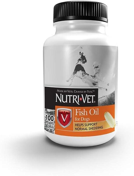 Nutri-Vet Fish Oil Supplements for Dogs | Skin and Coat Omega 3 Supplement | Dog Dry Skin & Dog Shedding Support | 100 Count Softgels