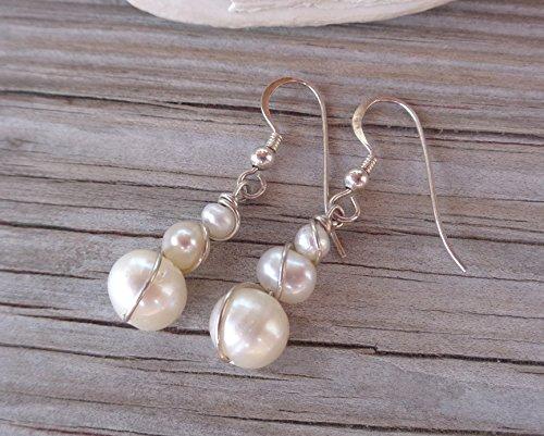 Drop Earrings Wrapped 925 Sterling Silver Freshwater Pearl Swirl