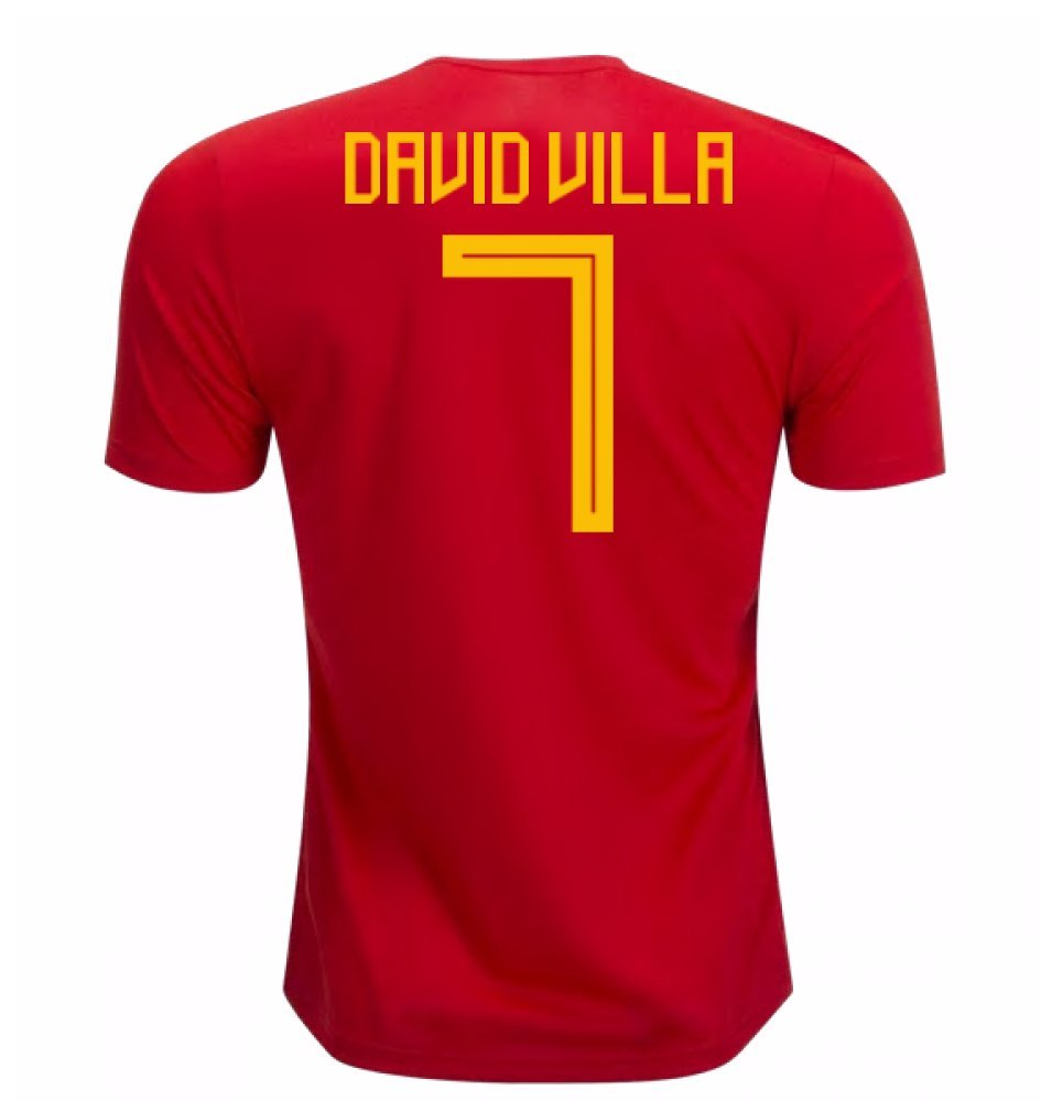 2018-19 Spain Home Football Soccer T-Shirt Trikot (David Villa 7) - Kids
