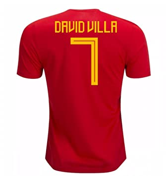 2018-19 Spain Home Football Soccer T-Shirt Camiseta (David Villa 7)