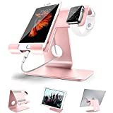Universal 2 in 1 Tablet Stand Holder Dock Apple Iwatch Charging Stands,ZVE Aluminum Ipad Stand with iwatch case 38mm For all Smartphone,Nintendo Switch,iWatch(38mm42mm),Tablet (Up to 12.9 inch) Rose