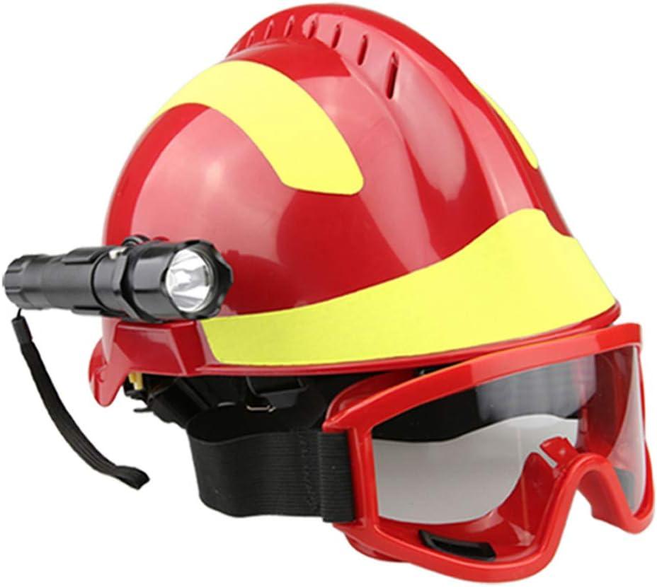 Casco de Rescate al Aire Libre, Kit de protección de Emergencia de Casco de Rescate de terremoto con Gafas y Linterna de deslumbramiento Fyxd