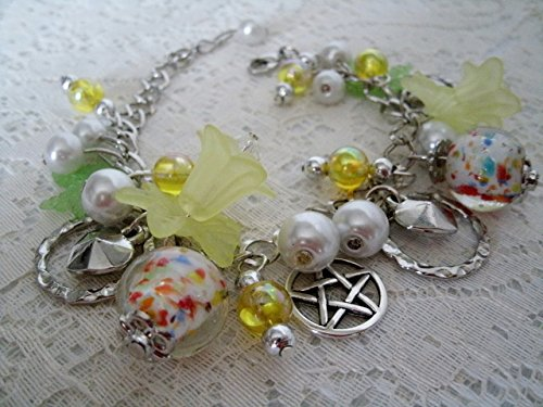 Sun Solstice Pentacle Charm Bracelet, handmade jewelry, wiccan, pagan, wicca, witch, witchcraft, goddess, pentagram, metaphysical, - Solstice Sun
