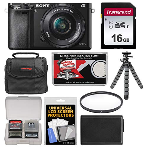 Sony Alpha A6000 Wi-Fi Digital Camera & 16-50mm Lens with 16GB Card + Case + Battery + Tripod + Filter Kit