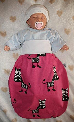 Schlafsack mit niedlichen Tiermotiven Zebra/pink (0-6 Monate gefüttert)