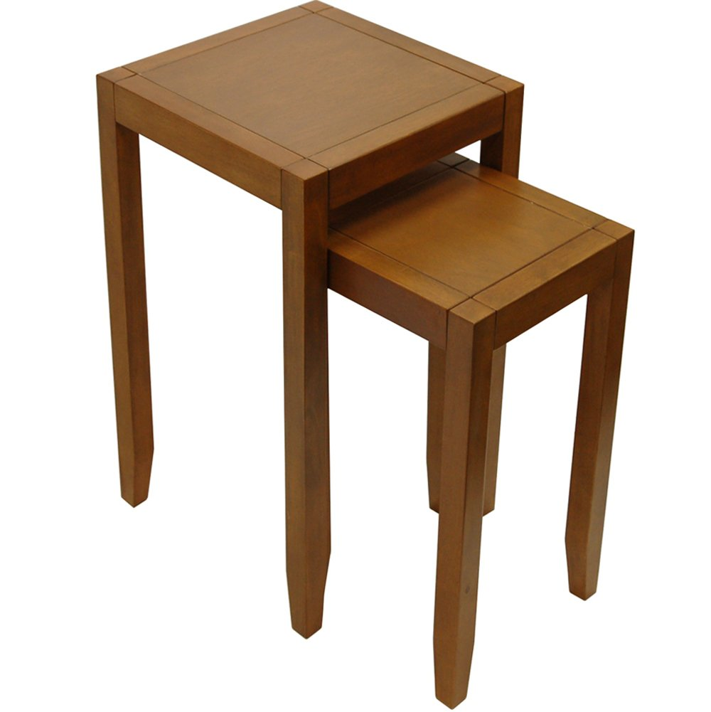 WATSONS ANYWHERE - Solid Wood Nest of Two Side/End Tables - Walnut Effect