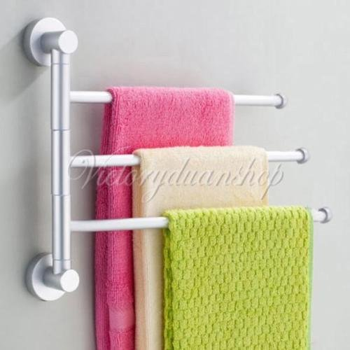 EUTTEUM 3-Arm/Bar Aluminium Bathroom Wall Mounted Towel Swivel Rack Rail Holder Hanger