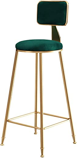 Barstools Upholstered Footrest with Backrest Sponge Seat Dining Chairs for Kitchen Restaurant Pub Caf Bar Counter Stool Max. Load 200kg Gold Metal Legs in Green