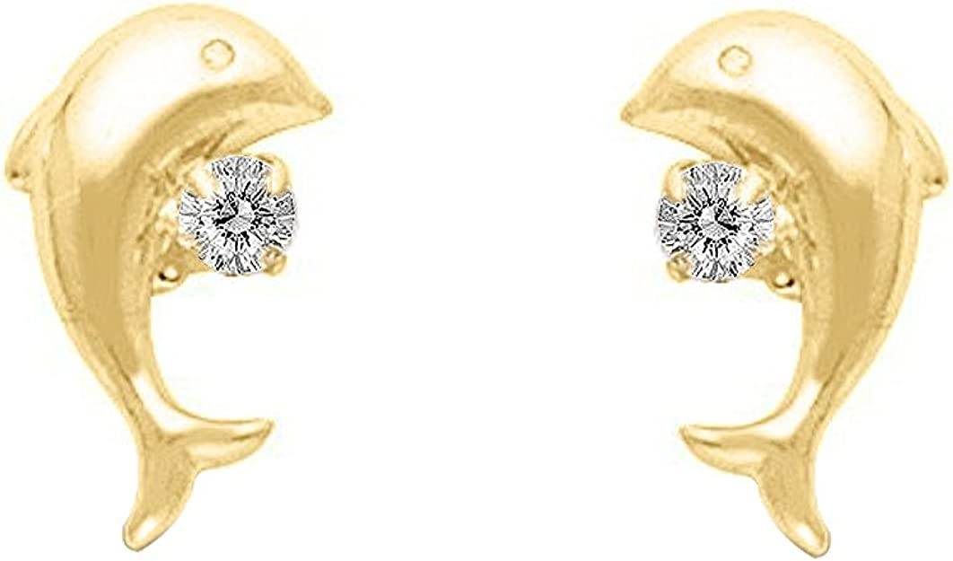 Small Jumping Dolphin Stud Earrings Screw Back Created CZ 14k Yellow Gold