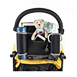 TXDY Universal Stroller Organizer Baby Diaper Stroller Bag with Two Premium Deep Insulated Cup Holders, Enough Storage Space for Stroller Accessories, Fits Most Strollers