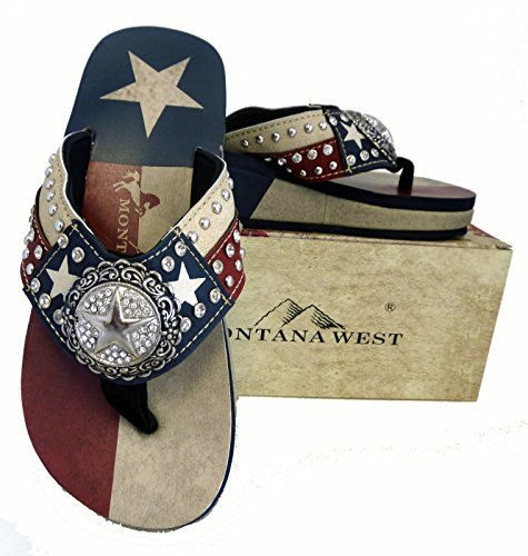 Montana West Ladies Flip Flops Texas Lone Star Flag Navy Blue, 6 M US -