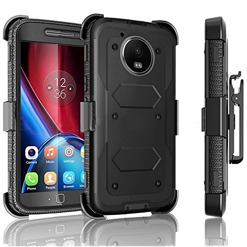 Moto G5 Plus Case / Moto G Plus (5th Gen 2017) Jwest Heavy Duty Full-Body Rugged Holster Armor Case & Belt Swivel Clip [ Kickstand ] WITHOUT Screen Protector for Motorola Moto G5 Plus - Black (Moto G Mobile Boost Cases)