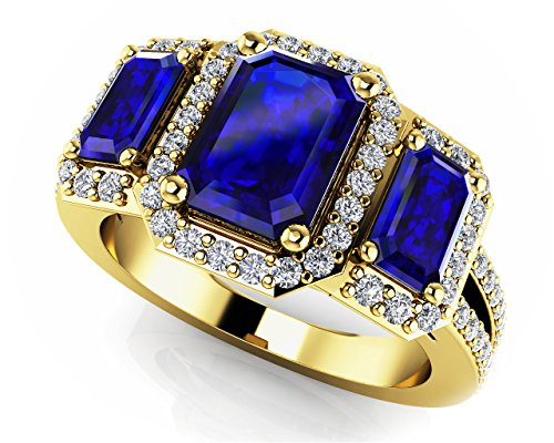 Sim Stone - Smjewels 1.29Ct Emerald Sapphire & Sim Three Stone Halo Engagment Ring 14K Yellow Gold Fn