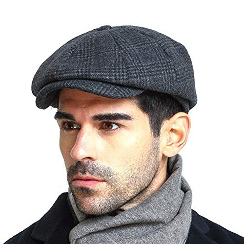 Men's Newsboy Gatsby Hat Vintage Beret Flat Ivy Cabbie Driving Hunting Cap for Boyfriend Gift -