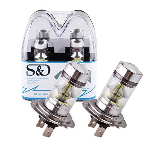 S&D 2 X 1250LM H7 LED Bulb DC 12V~24V 360 Degree 20 SMD Cree Car Fog Light White interior lighting Sourcing Parking 100W Lampochka Bombillas (Tj Rear Brake Conversion Kit)