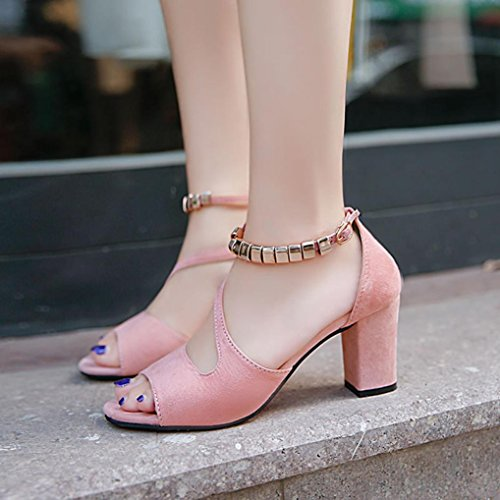 Club Work Toe High Shoes Gladiator for Utility for Sandals Sparkly Closed High Heeled Footwear Toe Pink Party Roman Square Office Heels Court VEMOW Peep Platform Women Buckle R4WqwadRXx