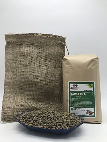 5 LBS - SUMATRA MANDHELING (includes a FREE BURLAP BAG) Specialty-Grade, CURRENT-CROP Green Unroasted Coffee Beans - Considered the Regions Finest and a Staple of Coffee Shops Across America