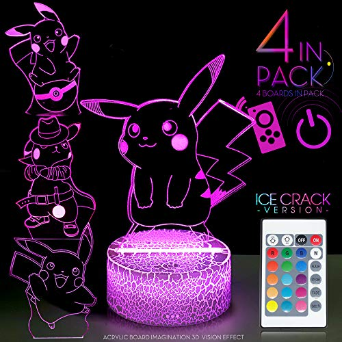 ATOPH Pikachu 3D Illusion LED Night Light Touch Sensor Remote Control USB Table Lamp 16 Colors Lights Display Dimming Birthday X'Mas Gift (Ice Crack) (Pikachu) (4in1) (Ver1)