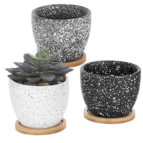 MyGift Set of 3 Speckled Glaze 3-Inch Ceramic Succulent Planter with Bamboo Saucers