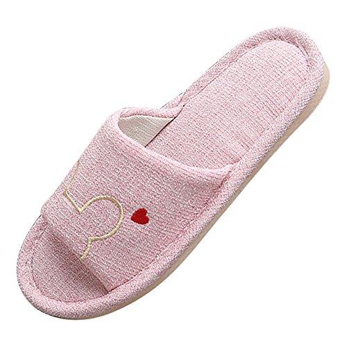 Eastlion Frauen und Mädchen Home Floor Soft Indoor Anti-Rutsch Flachs Streifen Bogen Hausschuhe Schuhe Rosa + weiße Streifen