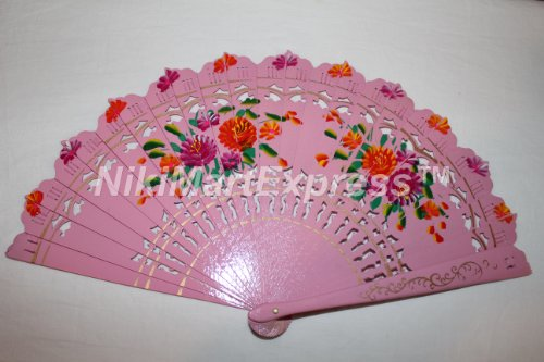 Quality Spanish Flamenco Vintage Dance Wooden Folding Hand Held Fan Multi-Colors (Pink)