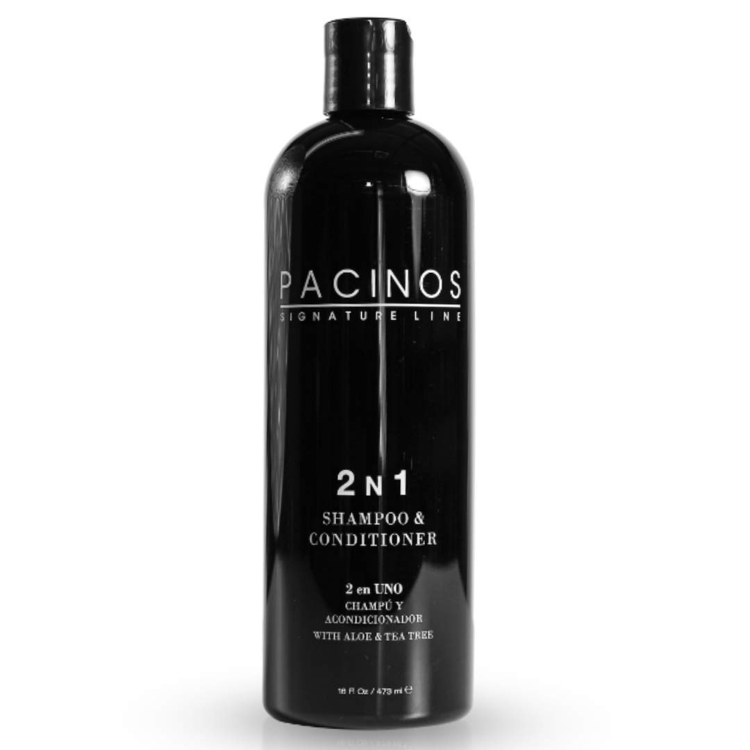 Pacinos 2-n-1 Shampoo and Conditioner with Aloe Vera and Tea Tree Extract - Hair Grooming with Strengthening and Conditioning Formula - 16 oz / 473 ml